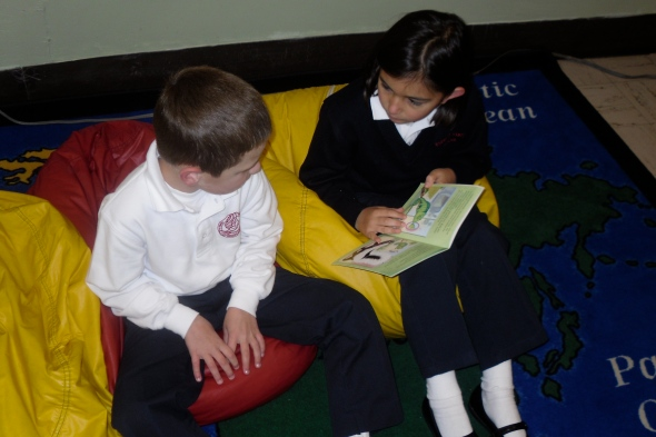 Kids reading in Brooke's classroom
