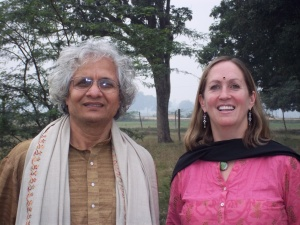 The Author, Maureen Hall, and Dr. Bal Ram Singh at Kuruom Vidyalaya
