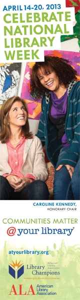 American Library Association National Library Week promotional image with Caroline Kennedy and girl